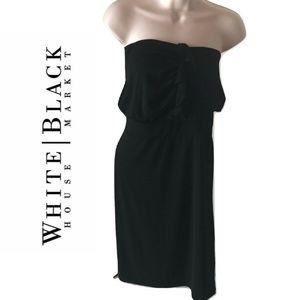 XS Little Black Dress Strapless Blouson Midi Solid